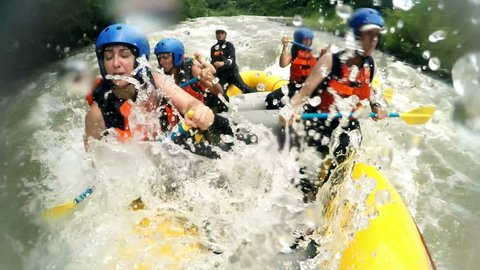 Immersive Shot Of Rough Whitewater Rafting Trip From Onboard Camera , Slow Motion 120Fps