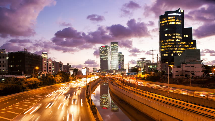 4K - Traffic Time Lapse - Ayalon Freeway From Day To Night Tilt Dawn | Shutterstock HD Video #10025108