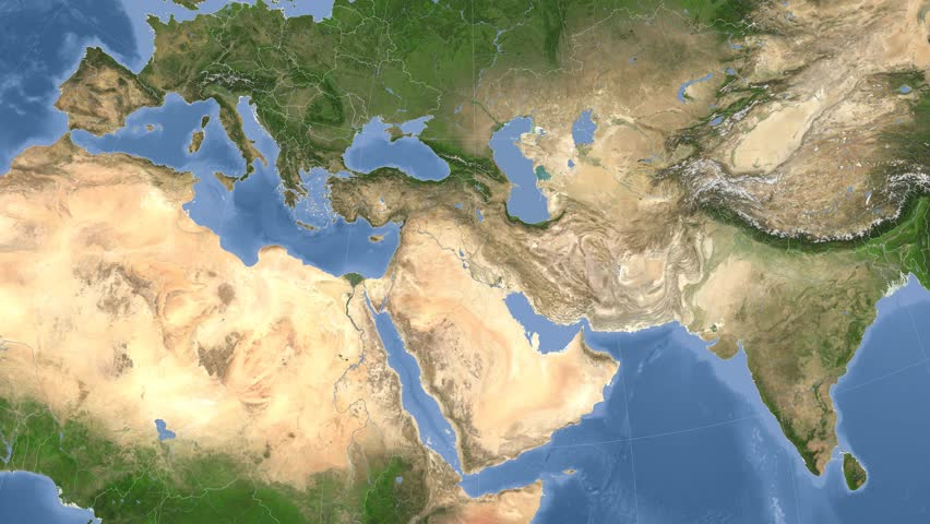 Iraq On The Satellite Map Outlined And Glowed Elements Of This - World map 2016 satellite