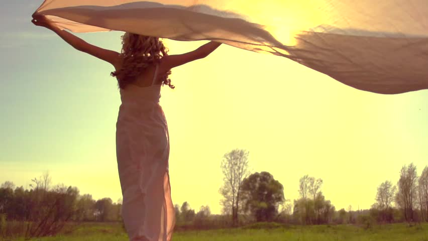Beauty Girl in long dress with chiffon scarf running on summer field to sunset and raising hands. Free woman, freedom health care. Nature. Slow motion 240 fps. High speed camera. Full HD 1080p  | Shutterstock HD Video #10043324