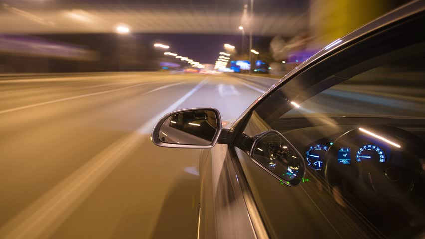 3 in 1 video! The night car driving time lapse, wide angle shot, front and side camera location on the car body | Shutterstock HD Video #10054154