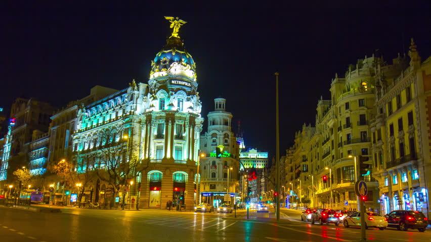 night light madrid famous gran via metropolis building 4k time laps spain