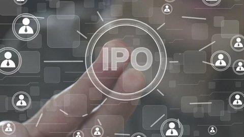 Businessman presses button ipo initial public offering icon