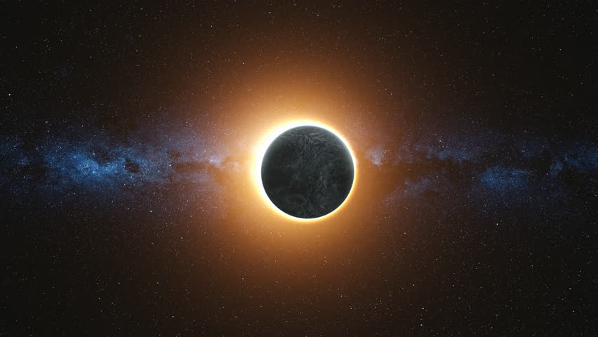 Full solar eclipse. The Moon mostly covers the visible Sun creating a gold diamond ring effect. Abstract scientific background. High detail 4k. 3D Render. Elements of this image furnished by NASA