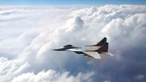 MIG-29 russian multirole fighter in flight. The video contains the actual sound of the engines of the aircraft during flight.