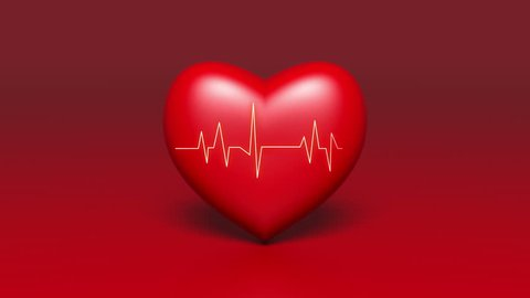 4k Heart beat cardiogram with red heart background,heart monitor EKG electrocardiogram pulse. cg_04067_4k