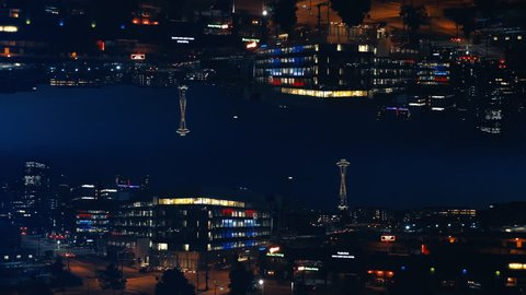 Abstract Downtown Seattle Night Background Aerial Reflection Mirror
