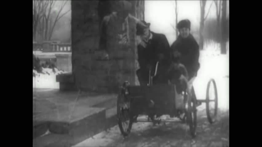 CIRCA 1900s - Henry Ford invents a quadracycle in his workshop, one of the first cars invented.