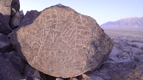 CIRCA 2010s - Dolly shot time lapse at night of a sacred Owens Valley Paiute petroglyph site in the Eastern Sierras, California