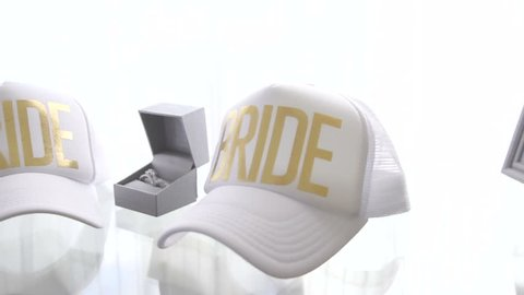 White Bride Baseball Hats with Diamond Rings