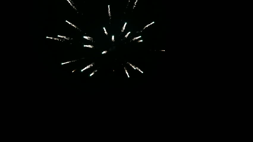 Handeld medium wide low angle point of view tracking shot following various decorative fireworks exploding and glittering in the night sky. | Shutterstock HD Video #1006679704
