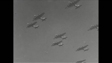 CIRCA 1943 - The US Army Air Force bombs a Japanese base.