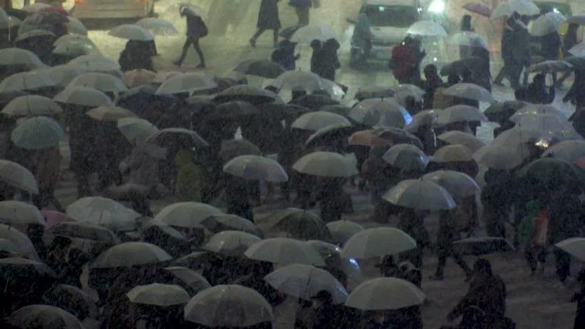 Japan Tokyo  Shibuya scramble crossing area in snow (slow motion)  22nd January 2018