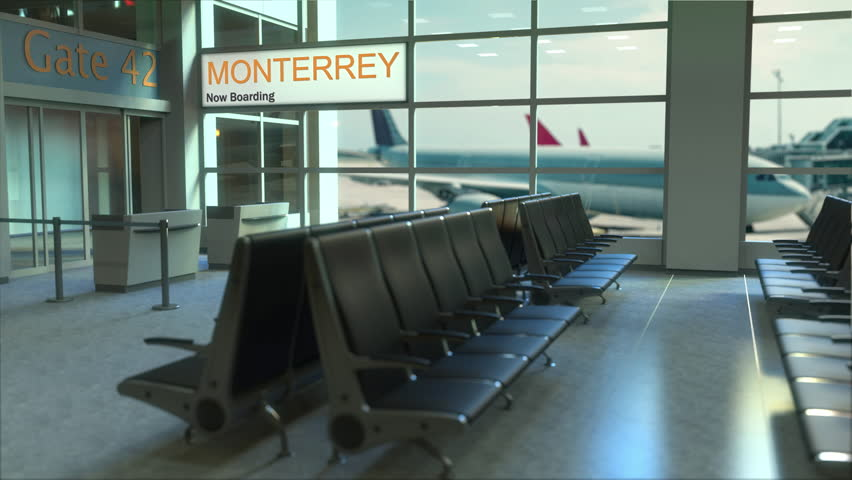 Monterrey flight boarding now in the airport terminal. Travelling to Mexico conceptual intro animation, 3D rendering