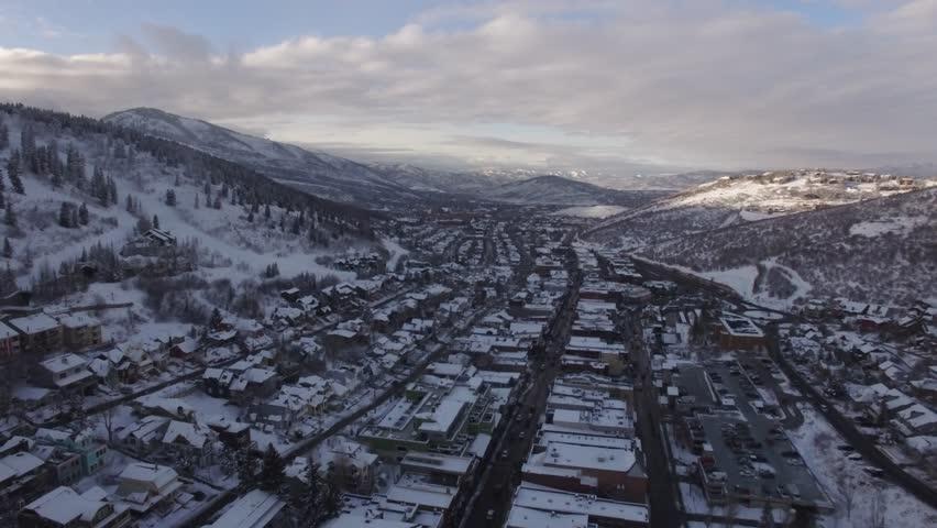 4K aerial of Park City, Utah during the Sundance Film Movie Festival 2018   Shutterstock HD Video #1006849084