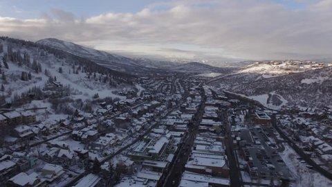 4K aerial of Park City, Utah during the Sundance Film Movie Festival 2018