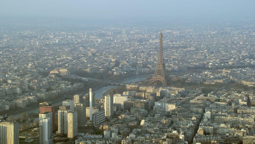 4K Panoramic aerial view, the Eiffel Tower & buildings & skyscrapers in Paris