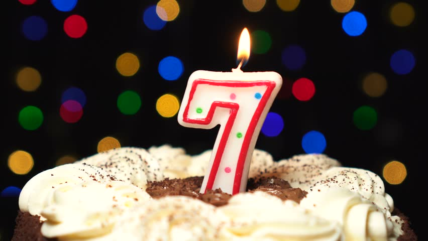 Birthday Cake With Number 7 Candles Stock Footage Video