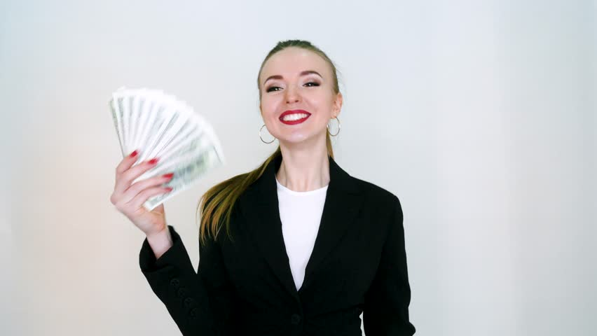 Woman Corporate Business Employee Holding Dollar Banknotes Tightly.