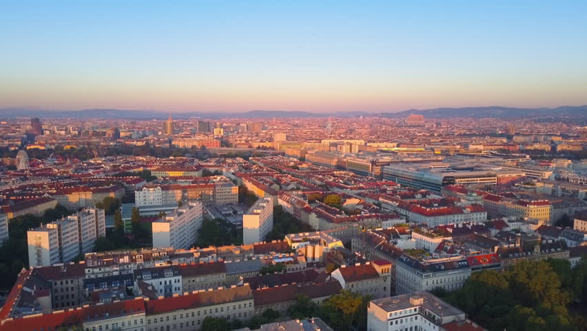 Aerial drone vienna flying to city centre leopoldstadt district at sunrise | Shutterstock HD Video #1006947784