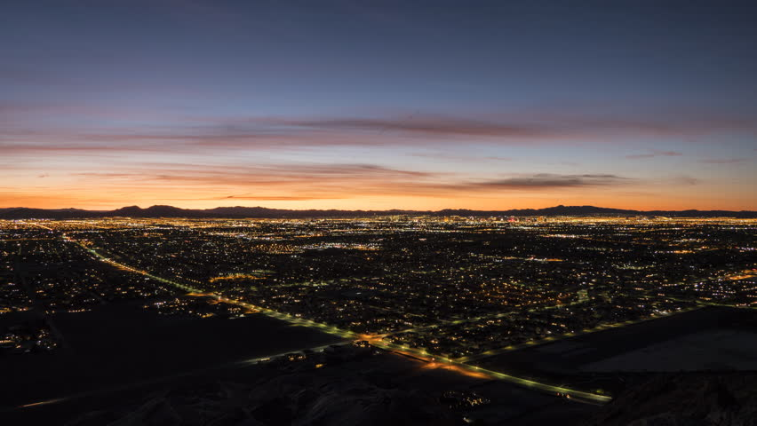Sunrise time lapse view from the top of Lone Mountain in Las Vegas, Nevada. | Shutterstock HD Video #1006975624