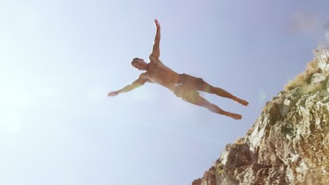 Atheltic Young Man Cliff Jumping Slow Motion Underwater Shot Freedom Fearlessness Red Epic 8k