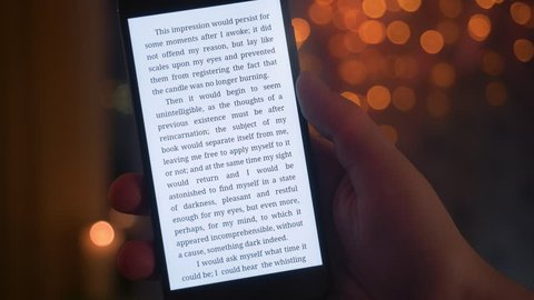 Reading e-book on the smartphone