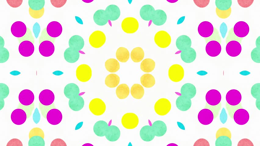 Colorful kaleidoscope flower dots patterns with watercolor paper texture. Abstract multicolored motion graphics background. (4k seamless loop background)