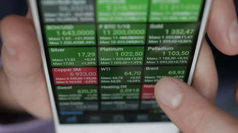 Businessman reading financial news. Stock market, trading online, trader working with smartphone on stockmarket trading floor. Man touching screen, browse foreign exchange market data, chart. Forex.