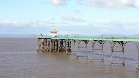 Clevedon Pier in Winter, Victorian Pleasure Pier, designated a Grade I listed building, built in 1860s, England