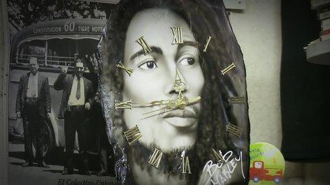 Bob Marley Wall Clock. Buenos Aires, Argentina. May 20, 2014.