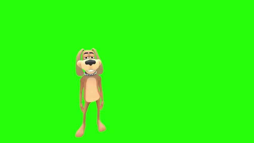 Happy smiling animated cartoon dog hound canine pooch mutt character stands and applauds clapping hands multiple times in front of green screen background