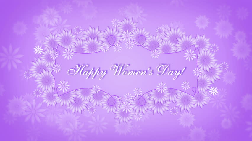 Happy Womens Day 8 March With Flowers On The Purple Background
