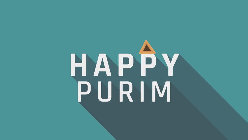 "Purim holiday greeting animation with hamantash icon and english text ""Happy Purim"". flat design loop."