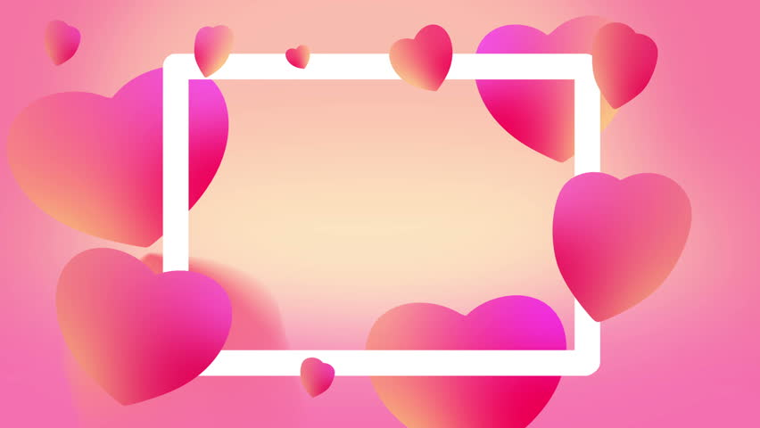 Valentines day sale background with Frame and hearts pattern. Colorful soft Love Hearts animation. Best for Mothers Day, Wedding, TV shows, Relationship related design.