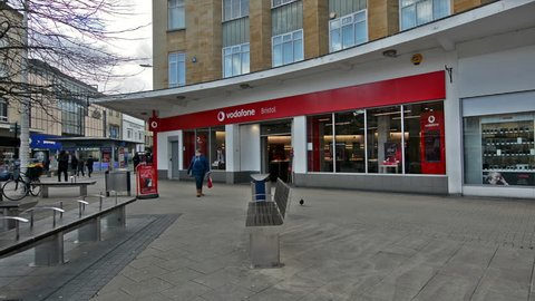 Bristol, England - Feb 1, 2018: Entrance to Vodafone Shop, view from Broadmead, Shopping Quarter in Bristol City Centre