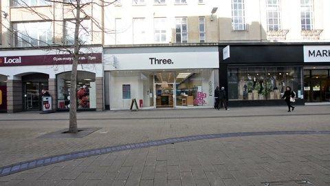 Bristol, England - Feb 1, 2018: Entrance to Three Shop, Mobile Phone Store in Broadmead, Bristol Shopping Quarter