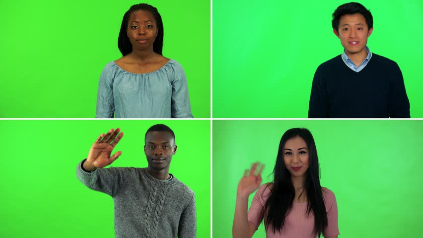 4K compilation (montage) - four people wave and smile at the camera - green screen