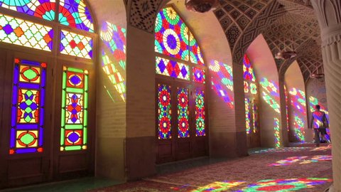 Iran, Shiraz, 2016 - Beautiful bright stained-glass windows in the mosque Nasir Al-Mulk, Shiraz