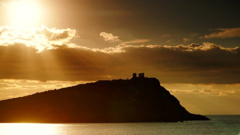 Greece Cape Sounion. Ruins of an ancient temple of Poseidon, Greek god of the sea, at morning, time lapse 4K