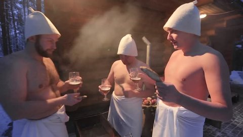 fun mens company rests in the traditional Russian sauna