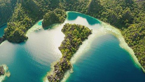 Coron, Palawan, Philippines, aerial view of beautiful Twin lagoon and limestone cliffs. Fisheye view.
