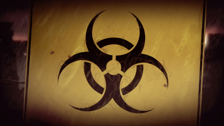 Biohazard symbol. City ruins under rain. Animation of post apocalyptic scene