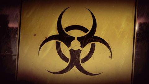 Biohazard symbol. City ruins under rain. Animation of post apocalyptic scene