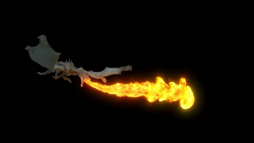 Animated realistic Dragon flying and breathing flame. High Quality Seamless loop with alpha channel in 2K resolution, ProRes 4444 codec, 25 FPS.