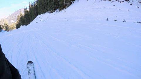 Colorado, USA-December 2, 2017. POV point of view. Skiing Colorado Rockies in early ski season.