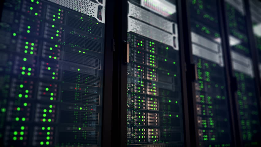Servers racks close up in Modern data center. Cloud computing datacenter server room. Cloud computing data storage 3d rendering. 4k UHD animation