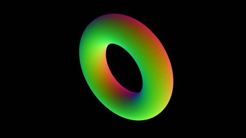 The colored torus rotates in the center of the screen. color of the normal. cinematic element. seamless loop.