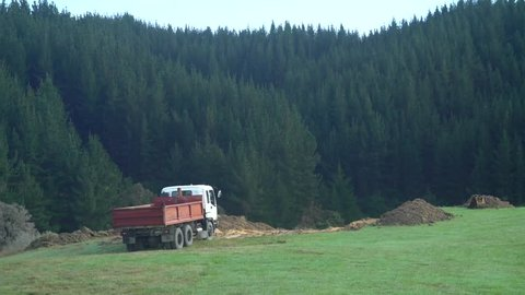 Retro pickup and dump truck near dirt mound in grassy alpine landscape in Abel Tasman, New Zealand.
