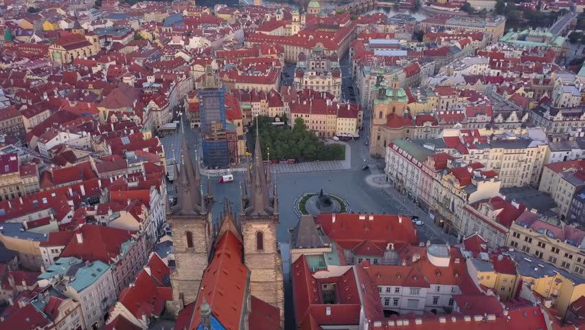 Czech Republic Prague Aerial v14 Birdseye flying low around Old Town Square sunrise 8/17